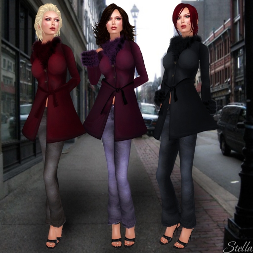 SHIKI suede coat violet with lavender jeans