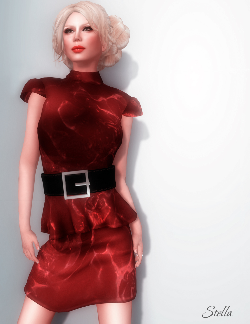 SHIKI Ripple Effect mesh dress (rouge)